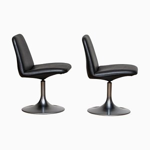Black Vinga Swivel or Slipper Chairs by Börje Johanson, 1970s, Set of 2