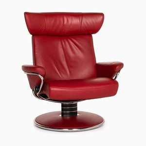 Red Leather Jazz Armchair by Kein Designer for Stressless
