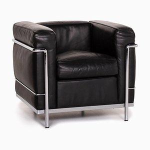 Schwarzer Leder LC2 Armlehnstuhl von Le Corbusier für Cassina