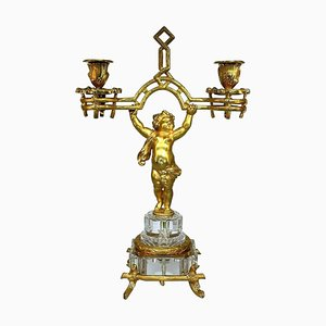 Napoleon III Fire-Gilded Bronze Putto Candlestick from Baccarat