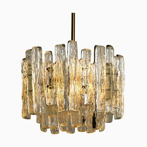 Modern Brass and Ice Glass Pendant Lamp by J.T. Kalmar, 1960s