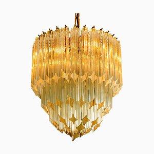 Großer vierstufiger Kristallglas Kronleuchter von Paolo Venini, 1960er