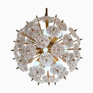 Lustre à Disques Sputnik en Cristal de Val Saint Lambert, 1970s
