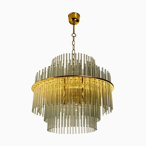 Modern Glass Rod Waterfall Flush Mount by Gaetano Sciolari for Lightolier, 1960s