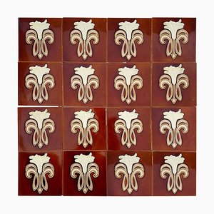 Jugendstil Keramikfliesen von Gilliot Factories für Hemiksem, 1920er, 16er Set