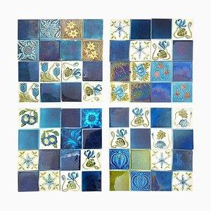 Art Nouveau Glazed Panel of 16 Relief Tiles, 1930s