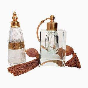 Vergoldete Art Deco Messing Parfümfläschchen von Moser, 1970er, 2er Set