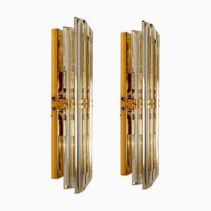 Wandleuchten aus Murano Glas und vergoldetem Messing im Stil von Venini, Italien, 1970er, 2er Set
