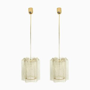 Art Deco Style Glass and Brass Pendant Lamps from Doria Leuchten, Germany, 1960s, Set of 2