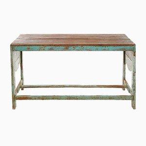 Hölzerner Tisch mit Blauer Patina, 1940er