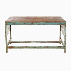 Wooden Table with Blue Patina, 1940s