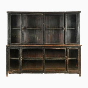 Glass Cupboard in Wood with Black Patina, 1940s