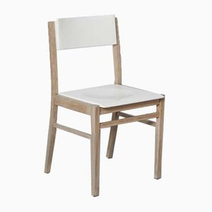 White-Cream Beech Dining Chair from Zavod Sabinov, 1960s
