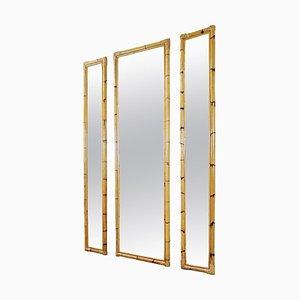 Vintage Bambus Spiegel, Italien, 3er Set