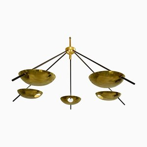 Vintage Brass and Black Lacquered Metal Ceiling Lamp