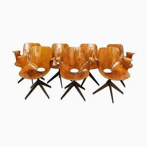 Medea Desk Chairs with Swivel Base by Vittorio Nobili for Fratelli Tagliabue, 1950s, Set of 8