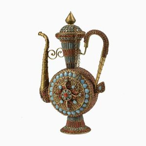 Brass Amphora Decorated with Red & Blue Semi Precious Stones, 1960s