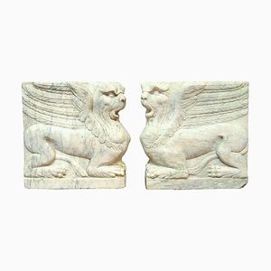 18th Century Bas-Relief in Turkish Marble, Set of 2