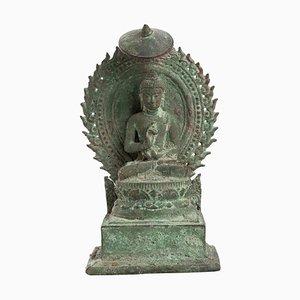 13th Century Indonesian Bronze Throned Buddha