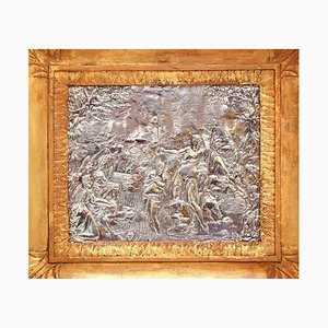 Mid-17th Century Baptism Scene Silver Bas-Relief with Gilded Frame