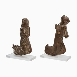 Late-15th Century Wooden Praying Angels, Set of 2