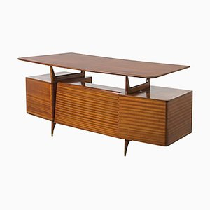 Italian Vintage Wood and Brass Writing Desk, 1950s