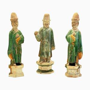 Antike Chinesische Ming Terracotta Skulpturen, 3er Set