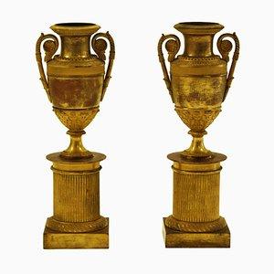 19th Century Italian Vases on Plinth, Set of 2