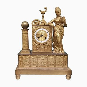 19th Century French Gold-Plated Bronze Shelf Clock