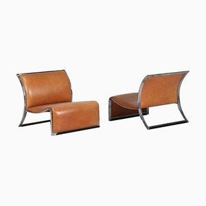 Vintage Armchairs in Metal and Leather by Vittorio Introini, 1960s, Set of 2
