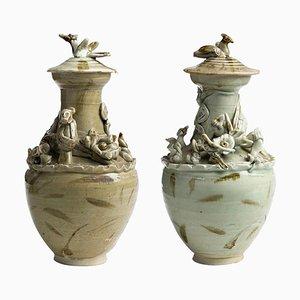 Antike Chinesische Keramikvasen aus der Song Dynastie, 2er Set