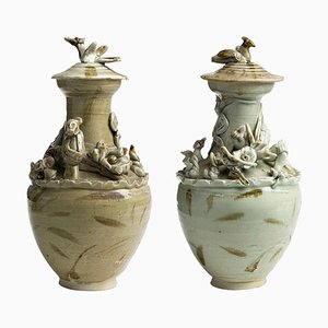Antique Chinese Song Dynasty Ceramic Urns, Set of 2