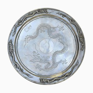19th Century Chinese Export Silver Tray from Zee Wo