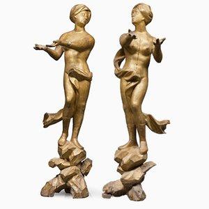 17th Century Italian Sculptures in Gilded Wood, Set of 2