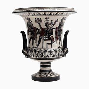 Vintage Krater aus Keramik mit pompeianischen Motiven bemalt