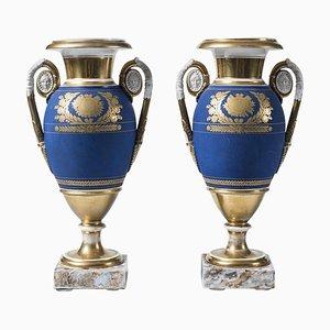 Französische Kobalt Porzellan Vasen, 19. Jh., 2er Set