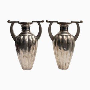 Silberne 800 Vasen mit 2 Griffen von Bellotto Argenterie, 2er Set