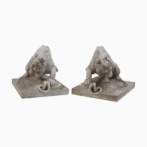 Late-19th Century French School Marble Lions, Set of 2