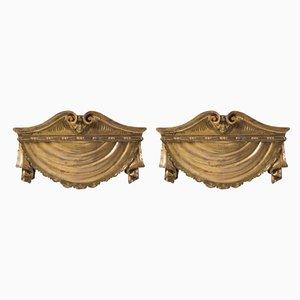 18th Century Neapolitan Wooden Gilded Shelves, Set of 2