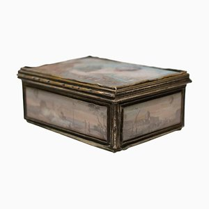 Small Antique Box with Decorative Scenes of the Reveillon Aerostat