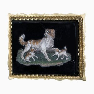 Small Antique Plate with Dogs and Puppies