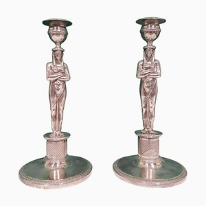 Silberne Kerzenhalter aus dem frühen 19. Jahrhundert, 2er Set