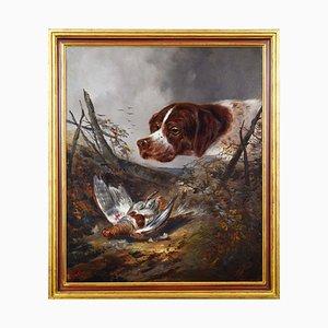 Pintura de escena de caza alemana, años 20