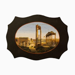 Antique Paperweight in Belgian Marble with Micromosaic Representing the Forum Romanum