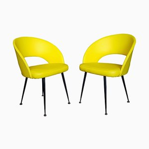Yellow Armchairs, 1950s, Set of 2