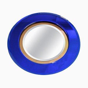 Italienischer Blauer Vintage Spiegel aus Kristallglas, 1960er