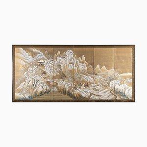 Panel Paisaje nevado de Takahashi Sohei, siglo XIX