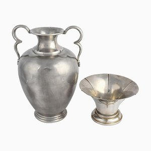 Vintage Art Deco Pewter Vase & Bowl from Svenskt Tenn, 1933, Set of 2