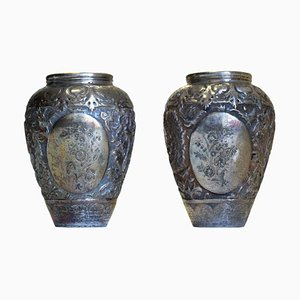 19th Century Silver Salve Vases, Set of 2