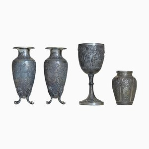 19th Century Silver Chalice and Vases, Set of 4